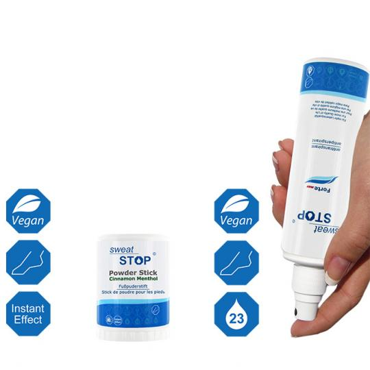 Antiperspirant Set against Heavy Sweating on the Feet - SweatStop® Forte max Foot Spray & SweatStop® Foot Powder Stick
