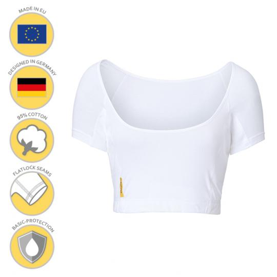 Women U-bustier Shirt by MANJANA® with generously integrated, absorbent underarm protection against sweat stains. High quality