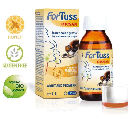 ForTuss Cough syrup with Manuka honey by Otosan® against dry and congested cough and irritated oral mucosa