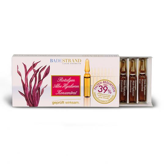 Red Algae Aloe Hyaluronic Concentrate regenerates with aloe and hyaluronic acid, moisturizes and firms