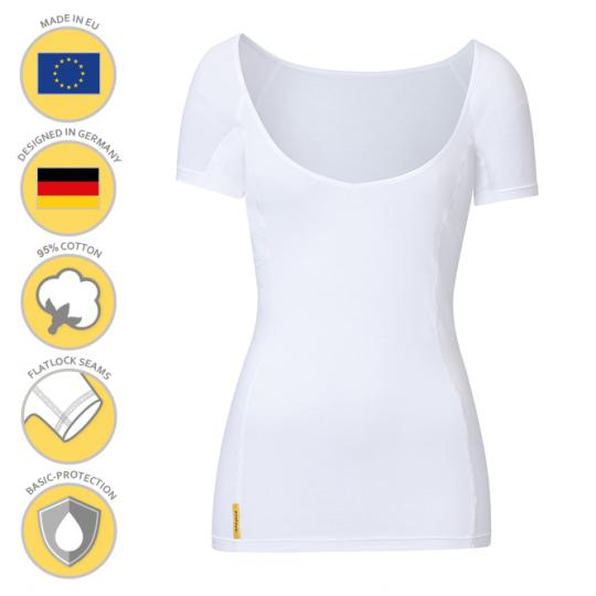 Women V-modern Shirt by MANJANA® with generously integrated, absorbent underarm protection against sweat stains. High quality